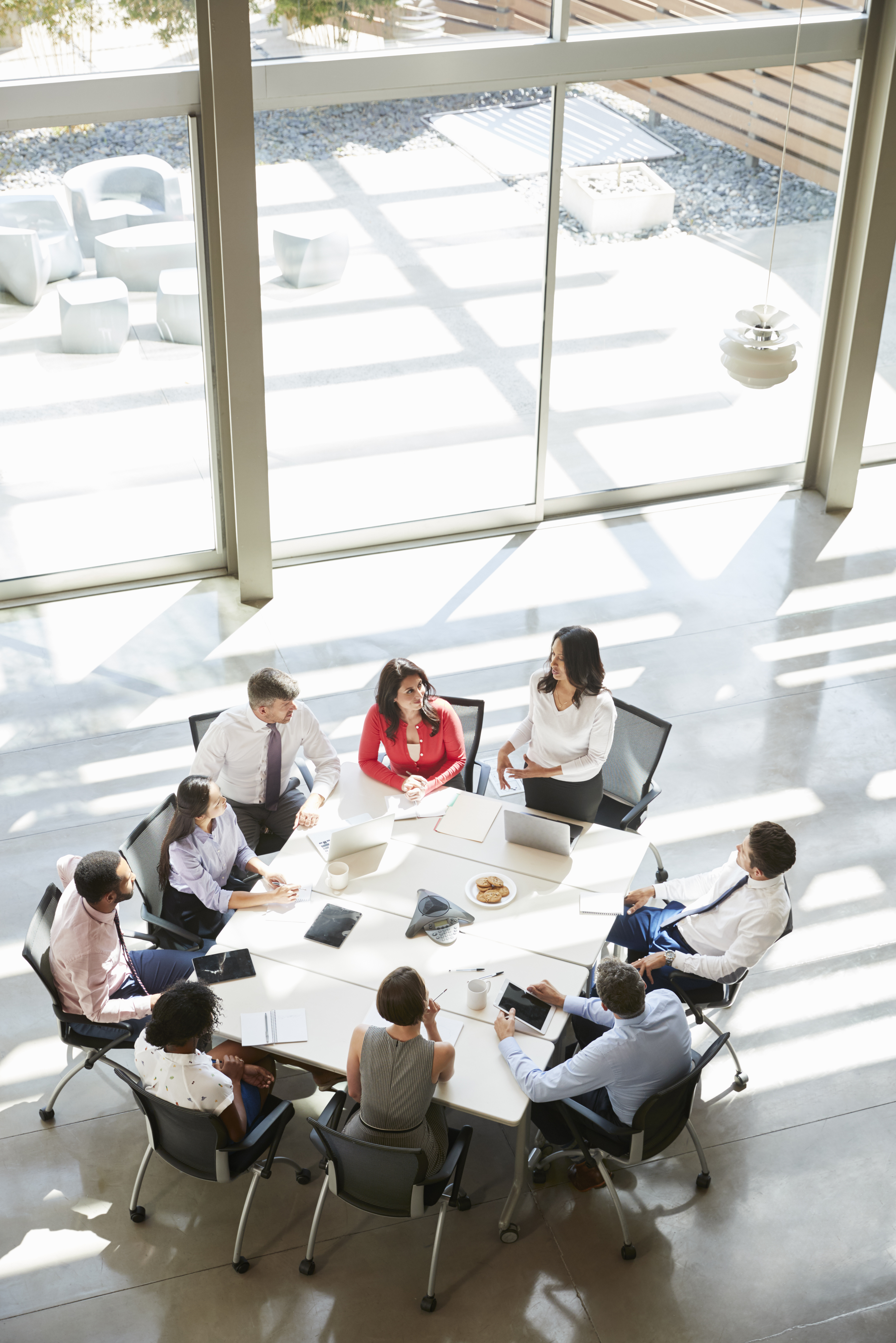 Businesswoman addressing meeting, elevated view, vertical