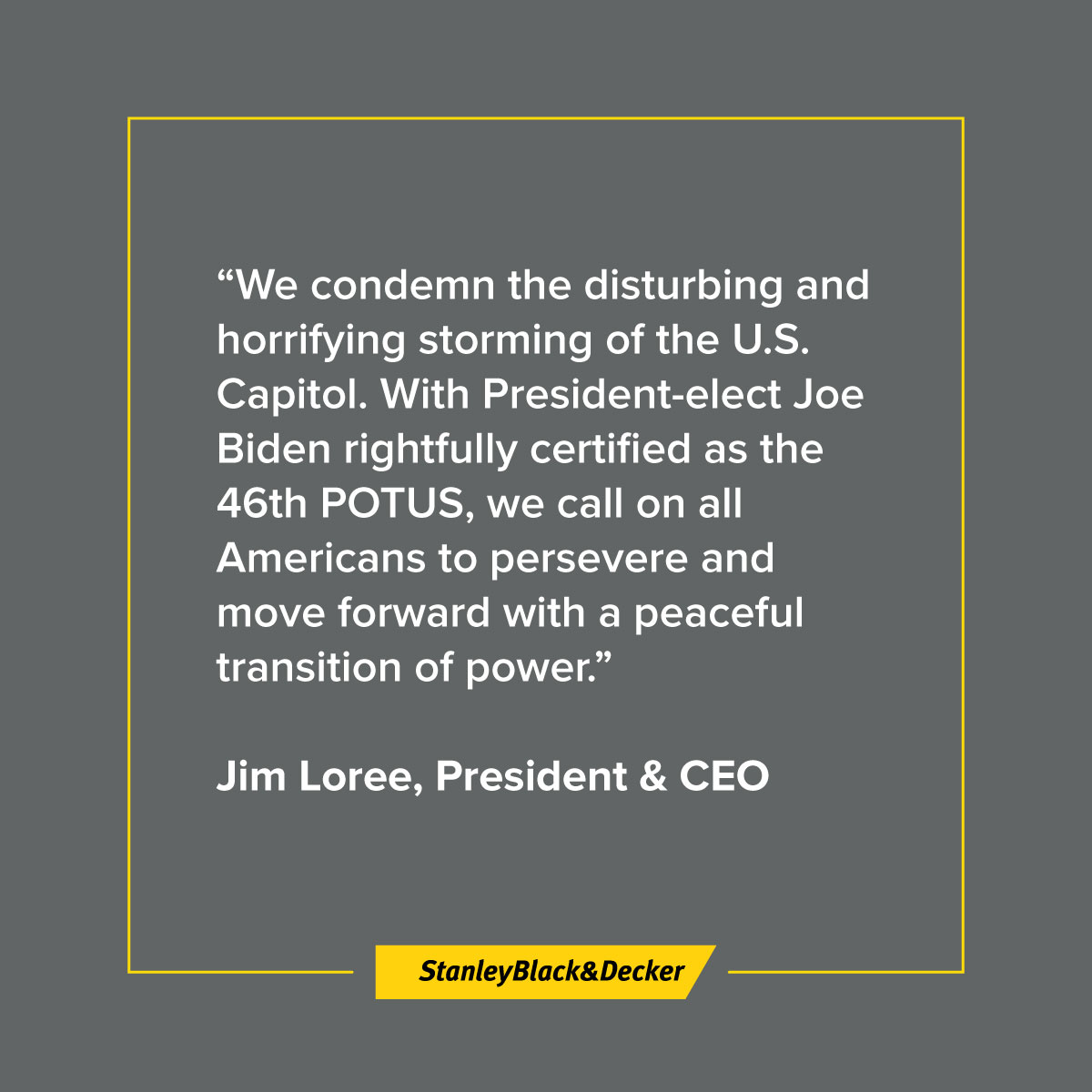A message from our CEO & President to Stanley Black & Decker employees