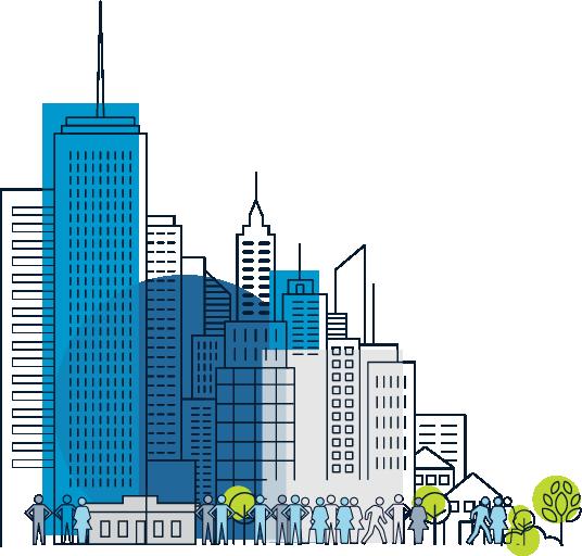 downtown cityscape buildings commuters