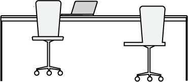 touchdown desk with laptop and chairs