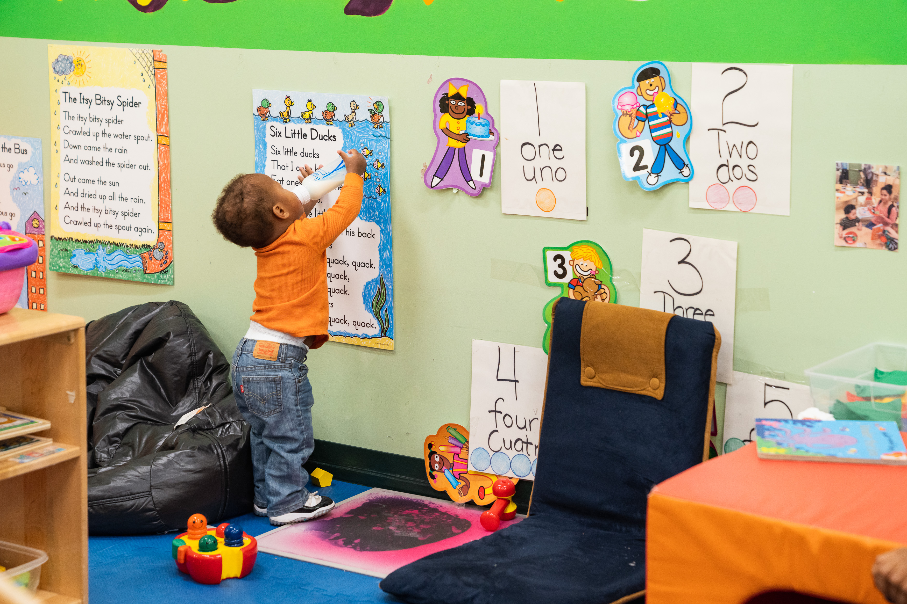 Photo of toddler playing in the United Way Columbia childcare facility
