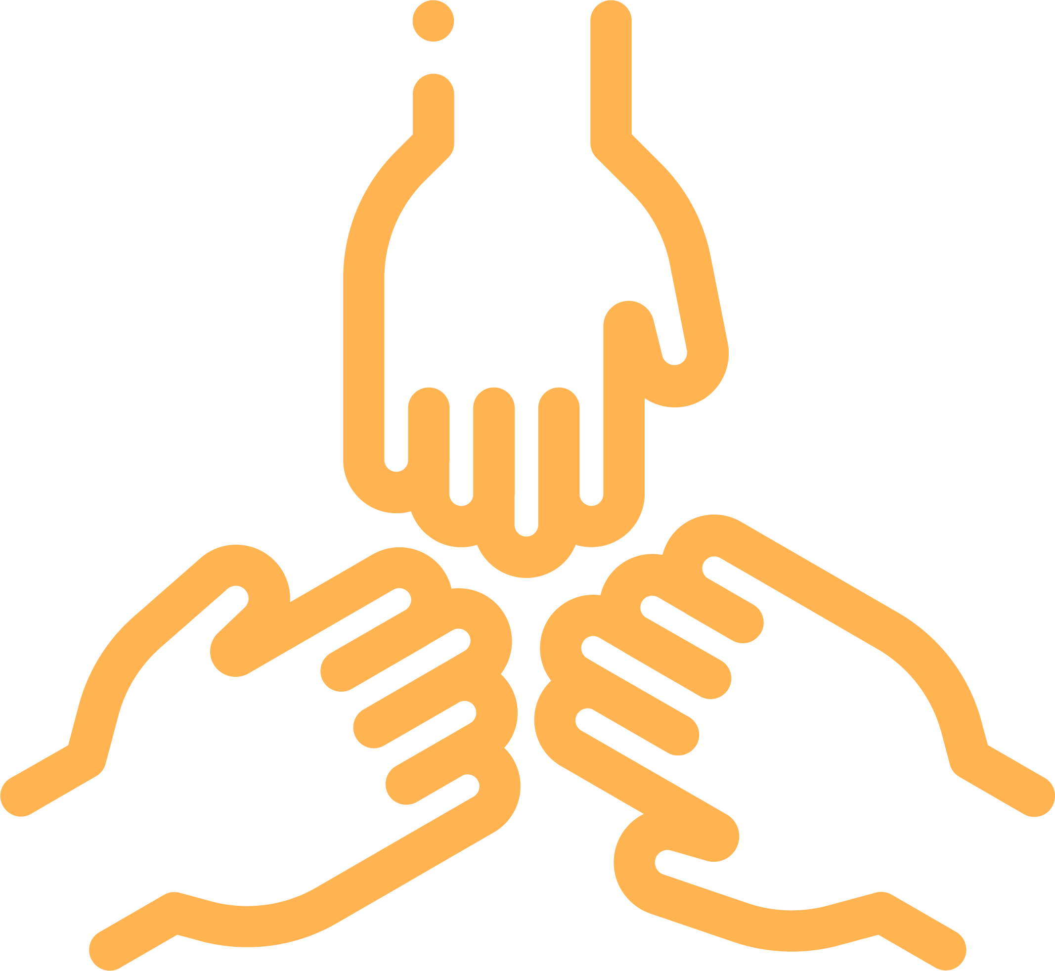 UWCM yellow Equity & Social Justice outline icon 3 hands together
