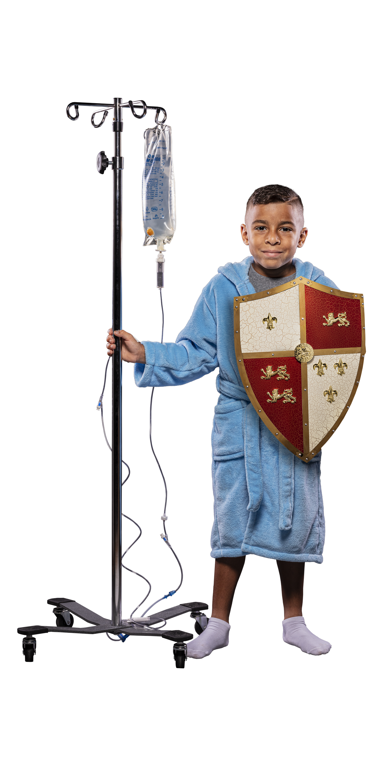 Patient Josiah with shield