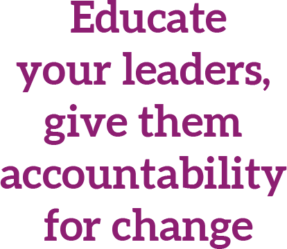 Educateyour leaders, give them accountability for change
