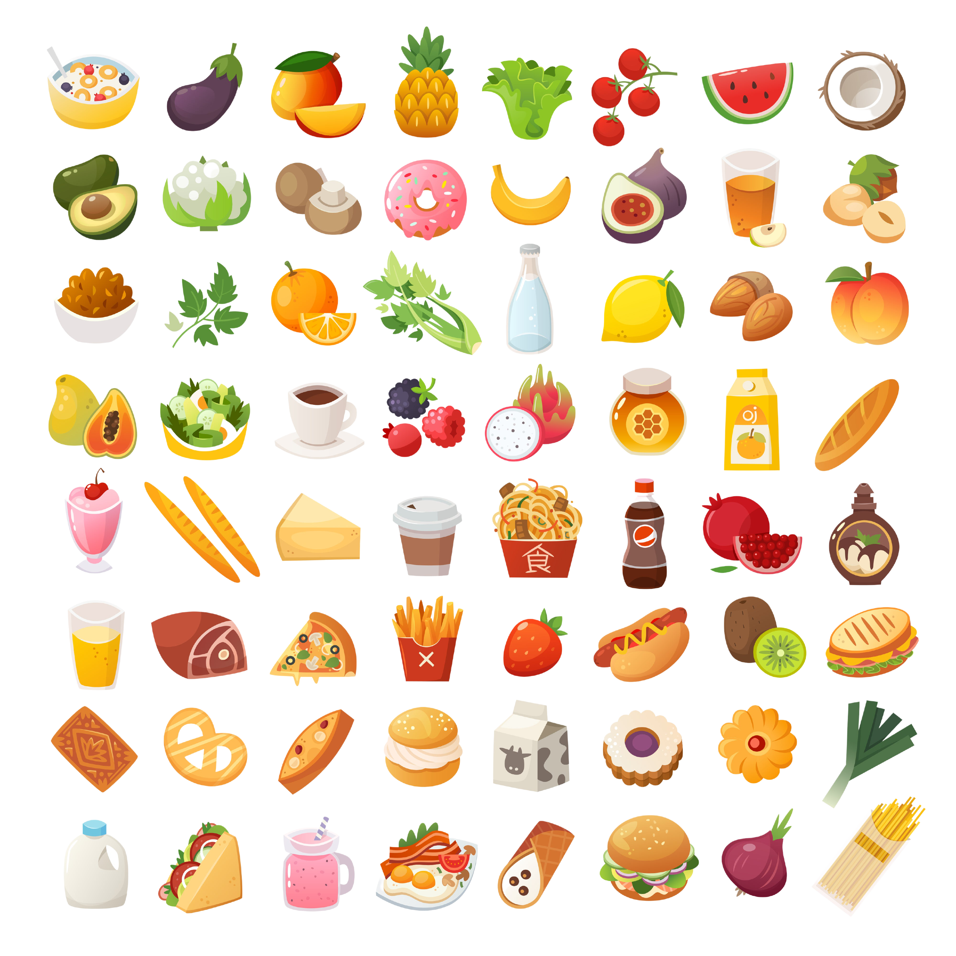 Set of colorful food icons. Bakery, dairy food, fruit and vegetables. Desserts fast food and pasta images. Isolated vector cartoon icons on white background.